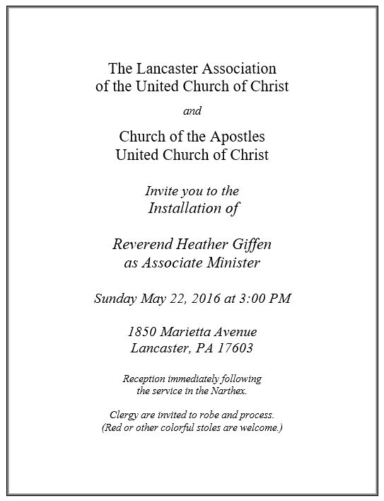 Installation Invite Church of the Apostles Lancaster Pa